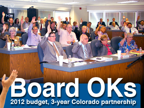 Board OKs 2012 budget, 3-year Colorado partnership