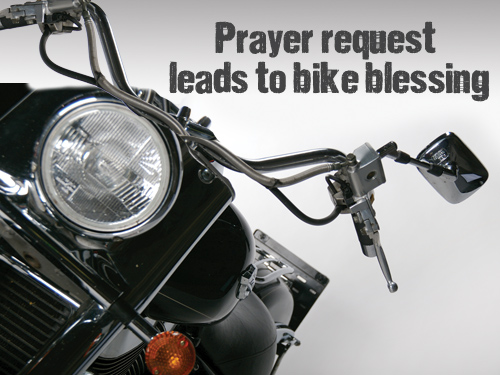 Prayer request leads to bike blessing
