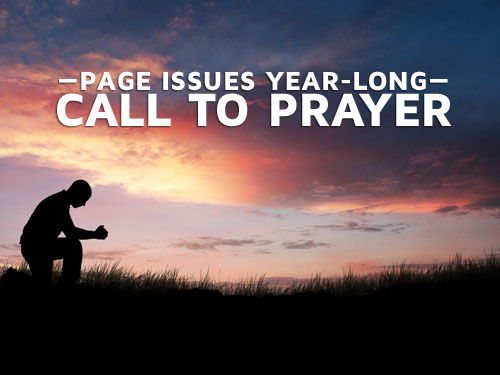 Page issues year-long call to prayer