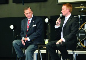 Southern Seminary President Al Mohler and Rep. James Lankford participate in a Q&A session during lunch.