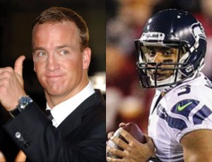 Peyton Manning, left, and Russell Wilson face each other in this year's Super Bowl. Both quarterbacks have shared their faith in Jesus Christ. (Photos: Shutterstock, World News Service)