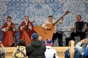 Groups wearing traditional clothing and playing indigenous instruments provided entertainment in the Olympic Park in Adler.