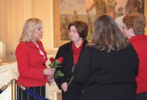 Oklahoma Gov. Mary Fallin receives red roses from pro-life citizens at Rose Day. Fallin spoke at the event and voiced a special commendation for the work of BGCO Executive Director-Treasurer Anthony L. Jordan.