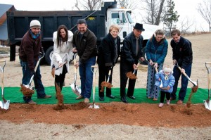 The Thompson Family, pictured here at the groundbreaking, made possible the Thompson Family Lodge which will contain 50 rooms. The family's construction company, Wynn Construction, is constructing the new projects.
