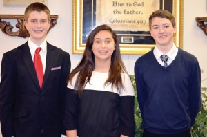 From left, Connor Young, Olivia Stone and Graham Griffin performed at Night of Worship at Nicoma Park, First, March 9, after participating in the State Keyboard Festival on March 8 at OBU.