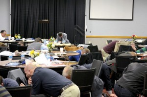 Priority of Preaching Conference attendees spent time on their knees, praying for revival.