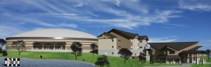 An architectural side view of future Falls Creek buildings.