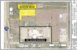 A site map denotes where the donated five acre plot is located along I-35 and north of NE 27th St. in Moore.