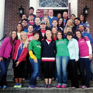 The team of young singles who participated in April 2013 mission trip to Boston pose together for a photo. The team stayed an extra day after the Boston Marathon bombing and ministered to the city's grieving citizens.