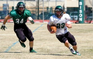 Dawson Myers, 23, led the OBU White team with 12 carries for 61 yards.