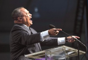Fred Luter, SBC president, preaches at the annual meeting. Luter finished his second term as president.