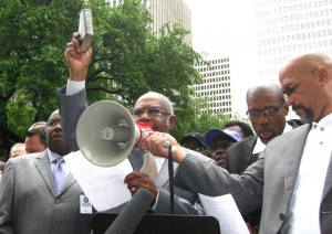 F.N. Williams Sr., pastor of Antioch Missionary Baptist Church in Houston, addresses a rally earlier this year opposing the city's push for a gay rights-style nondiscrimination ordinance. The issue has erupted anew with subpoenas by city government for pastors' sermons and communications in opposition to the ordinance. (Photo: Bonnie Pritchett)
