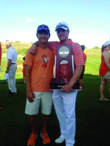 Ian Davis, above right, poses with his friend and OSU golf teammate Sam Lee at the 2014 NCAA Golf Championship, where the Cowboys finished as National Runners-up. (Photo: Provided)