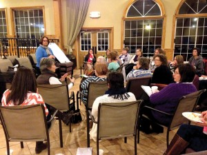 """Susan Helm, preschool minister and women's ministry director at Owasso, First, leads a session on team building and """"ministry branding"""" at the Embrace Retreat. (Photo: Kelly King)"""