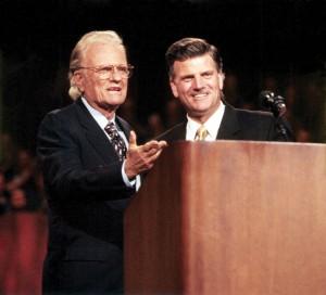 Billy Graham with Franklin Graham in Ottawa, Ontario, 1998. (Photo: Billy Graham Evangelistic Association)