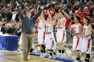 Coach Justin Janz celebrates a victory at the State High School Tournament (Photo: Lori May)