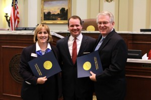 Oklahoma Lt. Gov. Todd Lamb, pictured center, spoke to the Rose Day gathering and presented a joint citation from himself and Oklahoma Gov. Mary Fallin to Dr. Anthony L. Jordan, Executive Director-Treasurer of the Baptist General Convention of Oklahoma (BGCO), pictured right, and Becky VanPool, Executive Director of Catholic Charities of Oklahoma City. The citation praised the BGCO and Catholic Charities for their shared work for the unborn. (Photo: Grant Bivens)