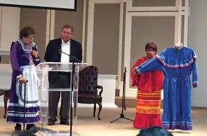Laura Mackey, president of the executive board of The Native American LINK, Inc., left, presented Willene Pierce's Muscogee Creek tribal dress, which she wore in the Native Praise Choir, to Emerson Falls, BGCO Native American specialist, to be placed in the Mission Center at the Baptist Building.