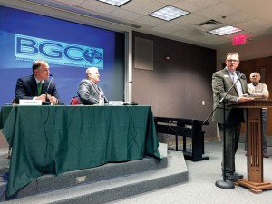 BGCO President Hance Dilbeck, left, pastor of Oklahoma City, Quail Springs, presided over the meeting (Photo: Brian Hobbs)