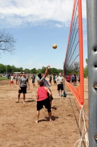 Young Adults played in a volleyball tournament Saturday afternoon (Photo: Tiffany Zylstra)