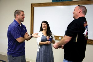 Donnie Frey, left, and his wife Sarah visit with a fellow Sunday School class member (Photo: Brian Hobbs)