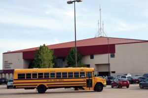 A school bus delivers Tinker Elementary School students to Del City, First Southern (Photo: Bob Nigh)