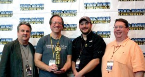 """Where Was God?"" production team, from left, of Chris Forbes, Don Stephens, Travis Palmer and Ricky Pope present their award from Trail Dance Film Festival. (Photo: Critical Mass Productions, LLC)"