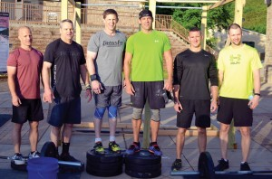 Men's Rewired CrossFit top three teams were, from left, Second Place: Alan Henson and Dan Allen; First Place: Andy Taylor and Blake Gideon; and Third Place: Nathan Elliott and John Jordan. (Photo: Chris Doyle)