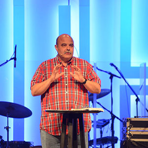 Andy Harrison preaching from the Word during the Falls Creek livestream (Photo: Chris Doyle)