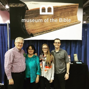From left, Anthony L. Jordan, BGCO executive director-treasurer, and his wife, Polla, stopped by the Museum of the Bible booth and visited with Lauren and Michael McAfee, young adult pastor of Bethany, Council Road