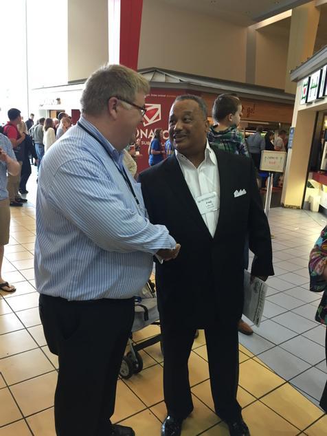 Former SBC president Fred Luter, Jr. greets @baptmessenger assoc. editor Chris Doyle.