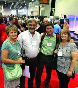 From left, Gayla and Pastor Joe Ligon of Marlow, First, with Pastor Tobin and LaNette Jackson of Oklahoma City, Trinity, visit in the exhibition hall at the SBC annual meeting (Photo: Brian Hobbs)