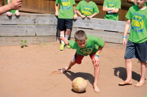 3) A camper winds up while participating in Gaga ball, a favorite game at CrossTimbers. (Photo: Chris Doyle)