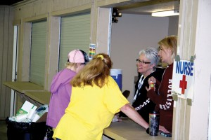 2) Volunteers at the nursing station, from right, include Melissa Hulsey and Jeanette Burkhart (Photo: Brian Hobbs)
