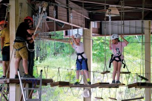 ACC campers were able to experience the ropes course in the Falls Creek amphitheater (Photo: Chris Doyle)