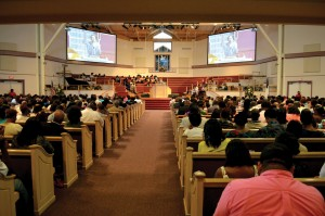 The church's worship center was packed for the service Aug. 16. (Photo: Bob Nigh)