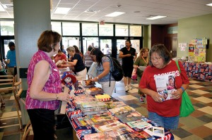 Attendees pick up free literature provided by the Ardmore, First Daughters of the American Republic chapter. (photos: Bob Nigh)