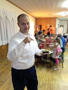 Johnny has a piece of pie at a fellowship at his church. (Photos: provided)