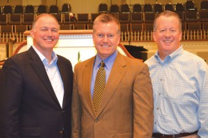 New BGCO Officers for 2016, from left, are Hance Dilbeck, pastor of Oklahoma City, Quail Springs, president; Richard Stillwell, pastor of Walters, First, first vice president; and Jeff Moore, pastor of Altus, First, second vice president (Photo: Bob Nigh)
