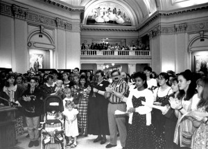 Rose Day Rally attendees filled the Oklahoma State Capitol Rotunda in 1995.