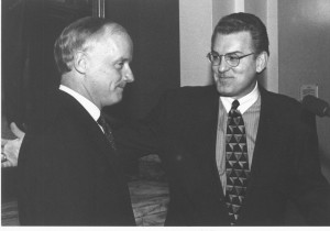 Former Oklahoma Gov. Frank Keating meets with BGCO Executive Director-Treasurer Anthony Jordan, then pastor of Oklahoma City, Northwest, during the 1995 Rose Day Rally.