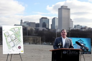 With the downtown Nashville skyline behind him, LifeWay president Thom S. Rainer announced tentative plans to build a new headquarters building five blocks from LifeWay's current campus which was sold late last year.