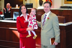 Brian Hobbs, right, with his wife Jennifer showed baby Violet on the House Chamber floor to rally attendees (Photo: Chris Doyle)