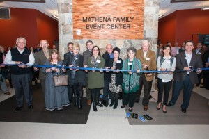 Jordan and the Mathena family dedicated the Mathena Family Event Center. From left are David and Teresa Mathena Powell, David and Lori Mathena, Gene and Melissa Mathena Phillips, Gary and Donnita Mathena, Harold and Patricia Mathena, and John and Elizabeth Mathena (Photo: Austin Urton)