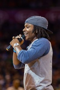 Tubbs enjoys his role of on-court emcee at Thunder home games. (Photo: Zach Beeker, OKC Thunder Photos)