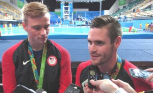 Steele Johnson (left) and David Boudia talk to the media after winning a silver medal in the men's synchronized 10-meter platform event. Photo by Tim Ellsworth