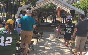 Fans gathered for GameDay Church outside EverBank Field in Jacksonville before the Jaguars-Packers game for a Sept. 11-themed Gospel message