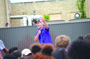 Northwest Classen soccer coach Matt Ross introduces all the coaches and athletes;