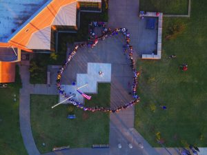 Overhead shot of Piedmont High School students observing SYATP