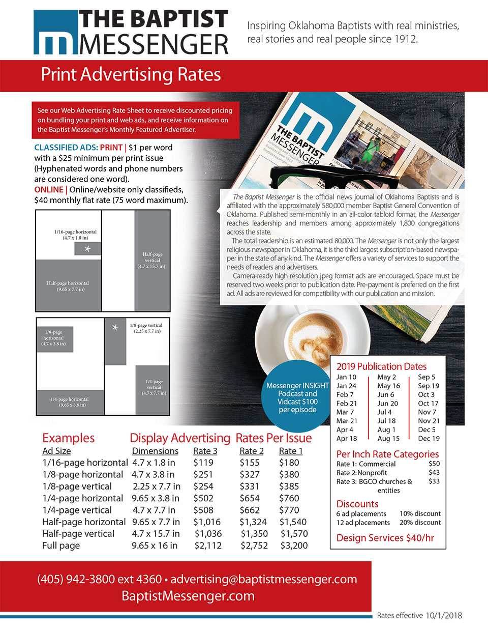 Print Advertising Rates | Baptist Messenger of Oklahoma